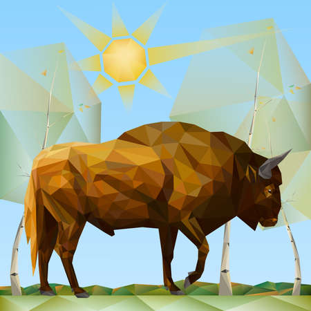 Bison in Forest in Polygonal Style