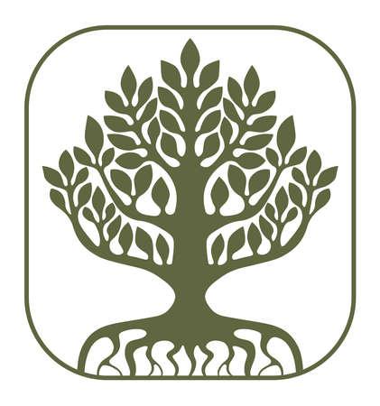 Tree of Life Yggdrasil on white background, vector illustration. Vettoriali