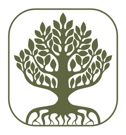 Tree of Life Yggdrasil on white background, vector illustration. 向量圖像