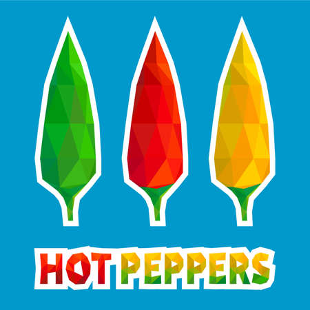 Chili Hot Peppers in Polygonal Style