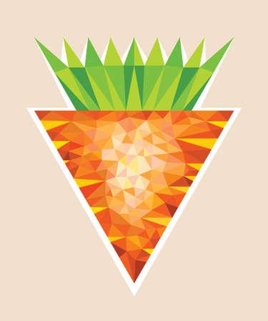 Big Orange Carrot wit Tops in Polygonal Style Illustration