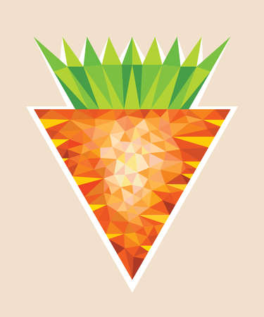 Big Orange Carrot wit Tops in Polygonal Style Illustration