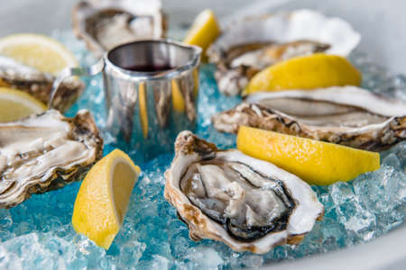 Oysters in Blue Ice with Lemon and Wine High Cuisine Dish Stock Photo