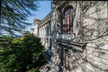 SOCHI, RUSSIA, APRIL 24, 2018: Architecture of Sanatorium Ordzhonikidze