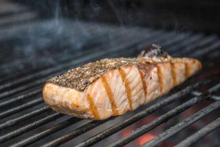 Salmon Steak Bluefin Being Prepared in Josper Grill