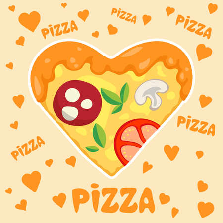 Piece of pizza in shape of heart symbol of love