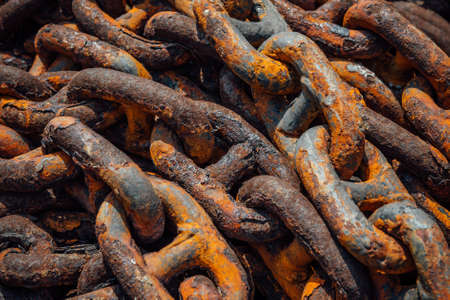 Rusty Old Chain in a Sea Port Close up