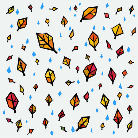 Falling bright Autumn Leaves Season Background in Geometric Style Иллюстрация
