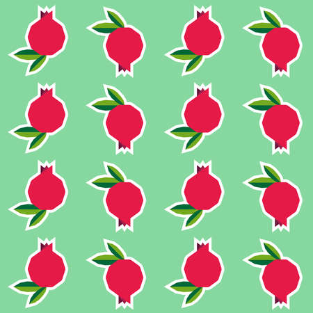 Ripe Pomegranates with Leaves Seamless Backgroundi n geometric style  イラスト・ベクター素材