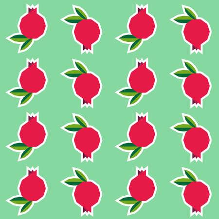 Ripe Pomegranates with Leaves Seamless Backgroundi n geometric style 일러스트