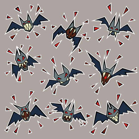 Wicked Cartoon Bats with Red Eyes and Blood Drops in the Sky Halloween Theme 일러스트