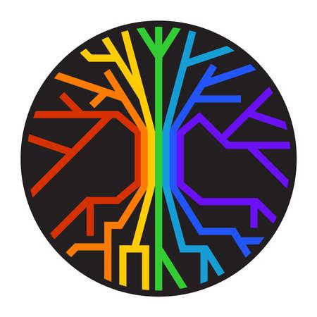 World Tree of Life Yggdrasil in Rainbow Colors