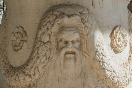 Deity image carved from stone - Acropolis exibition 스톡 콘텐츠