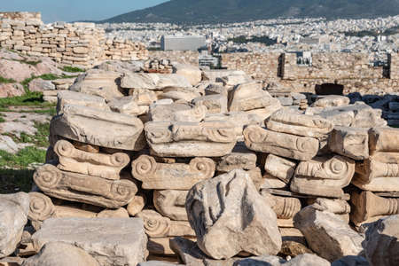 Fragments of Ionic Order Columns in Acropolis of Athens, Greece