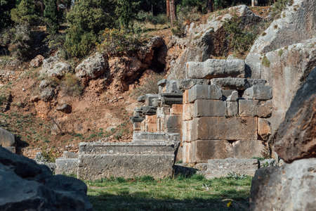 Delphi, Greece, November 19, 2019: ancient stadium start gates details of the most important ancient Greek temple and oracle of Apollo Publikacyjne