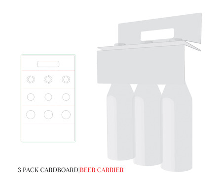 Bottles Holder Template, Three Pack Cardboard Bottles Carrier with die cut / laser cut lines. Ilustrace