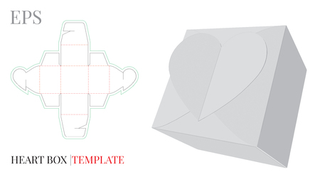 Heart Gift Box Template,  with die cut / laser cut line.