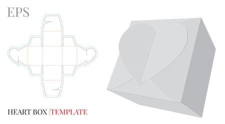 Herz-Geschenkbox-Vorlage, mit Stanz- / Laserschnittlinie.