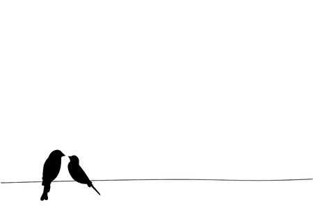 Birds On Wire, Wall Decals, Art Decor, Birds Silhouette, Two birds in love, couple of birds,  Isolated on white background