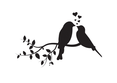 Birds on Branch, Wall Decals, Couple of Birds in Love, Art Decoration, Wall Decor, Birds Silhouette on branch and Hearts Illustrations isolated on white background Standard-Bild - 120261716