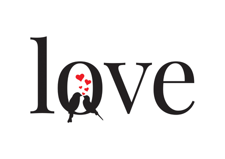Love, Couple of Birds in love, Wall Decals, Wall Decor, Art Decoration, Wording Design isolated on white background Illustration