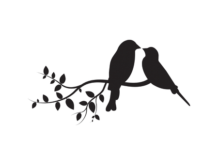 Birds on Branch, Wall Decals, Couple of Birds in Love, Art Decoration, Wall Decor, Birds Silhouette on branch isolated on white background Standard-Bild - 120261718
