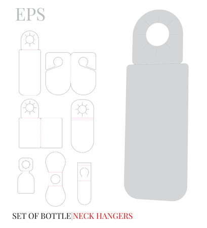 Bottle Neck Hanger Template, Wine Hanger, white, blank mock up isolated on white, Set with 10 different designs.
