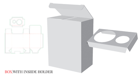 Box with Holder Inside Template. Vector with die cut / laser cut layers. White, clear, blank, isolated  Box with Inside Holder mock up on white background with perspective view. Packaging Design