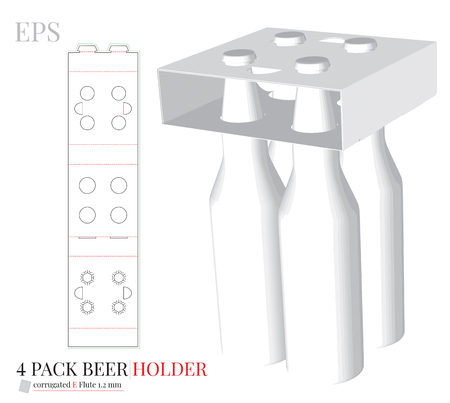 Bottle Holder Template, Four Pack Bottle Carrier  with die cut / laser cut lines. 矢量图像