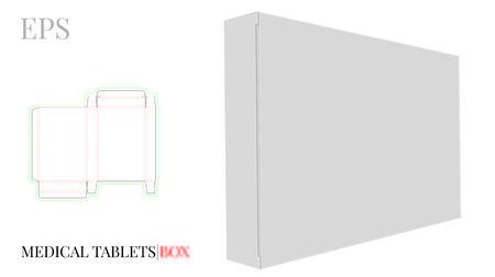 Medizinische Tabletten-Box-Vorlage mit gestanzten Linien.