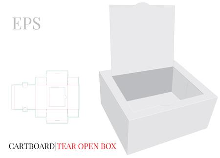 Ear Open Box Template con linee fustellate. Vettore con strati fustellati/tagliati al laser. Scatola di carta aperta bianca, chiara, vuota, isolata mock up su sfondo bianco con presentazione in prospettiva.