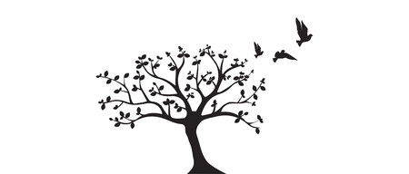 Flying Birds On Tree Vector, Wall Decals, Birds Silhouette, Birds on Branch, Art Design, Wall Art. Wall Decor Isolated on white background Standard-Bild - 127395797