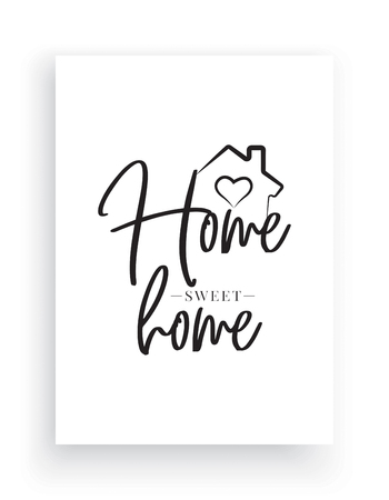 Minimalist Wording Design, Home Sweet Home, Wall Decor, Wall Decals Vector,House with heart illustration, Wording Design, Lettering Design, Art Decor, Poster Design isolated on white background Standard-Bild - 127395799