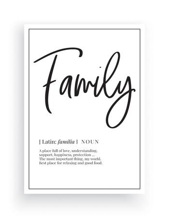 Minimalist Wording Design, Family, Wall Decor, Wall Decals Vector, Family noun definition, Wording Design, Lettering Design, Art Decor, Poster Design isolated on white background Standard-Bild - 127395803