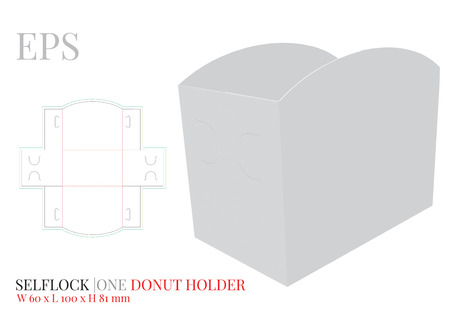 Burger Holder Template, vector with die cut or laser cut layers. Burger carrier, Open Burger Box. White, clear, blank, isolated Paper Burger Holder mock up on white background, perspective presentation Illustration