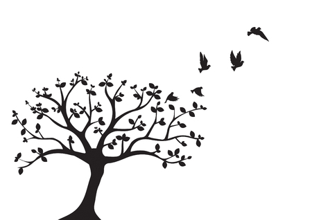 Flying Birds On Tree Vector, Wall Decals, Birds Silhouette, Birds on Branch, Art Design, Wall Decor isolated on white background. Standard-Bild - 127393923