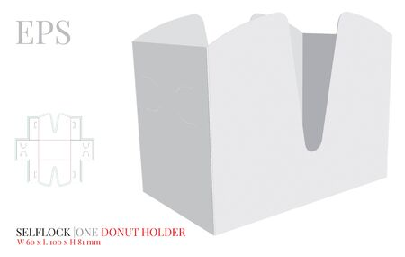 Donut Holder Template, vector with die cut / laser cut layers. Donuts carrier, Open Donuts Box. White, clear, blank, isolated Paper Donuts Holder mock up on white background, perspective presentation 版權商用圖片 - 147861023