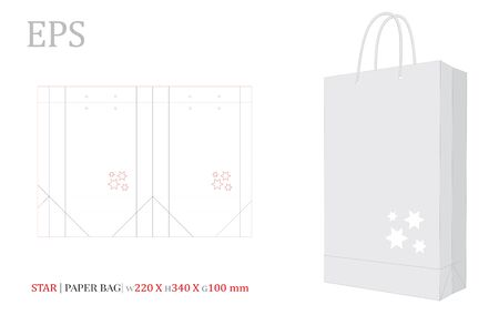 Paper Bag Illustration, Shopping Bag,180 x 190 x 60. Vector with die cut / laser cut layers. White, clear, blank, isolated Stars Paper Bag mock up on white background with perspective view. Standard-Bild - 137927514