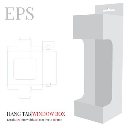 Hang Tab Window Box Template, Vector with die cut / laser cut lines. White, clear, blank, isolated Hang Tab mock up on white background with perspective view. Paper Box with Handle, Packaging Design Standard-Bild - 137927515
