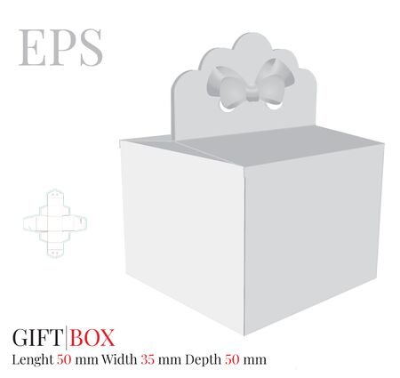 Gift Box with Bow Template, Vector with die cut / laser cut layers. Delivery Cake Box, Self locking Box. White, blank, clear, isolated Present Box mock up on white background, Packaging Design Standard-Bild - 137927516