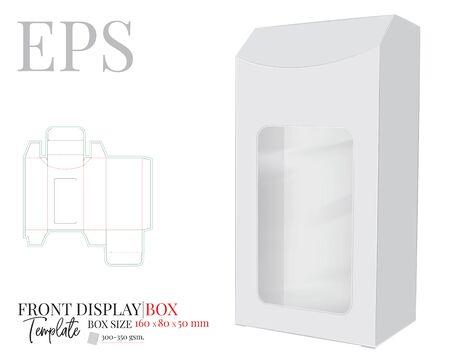 Front Display Box Vector, Vorlage mit gestanzten / lasergeschnittenen Linien. Weißes, klares, leeres, isoliertes Box-Mock-up auf weißem Hintergrund. Verpackungsdesign