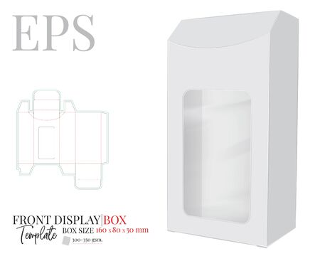 Front Display Box Vector, template with die cut / laser cut lines. White, clear, blank, isolated box mock up on white background. Packaging design