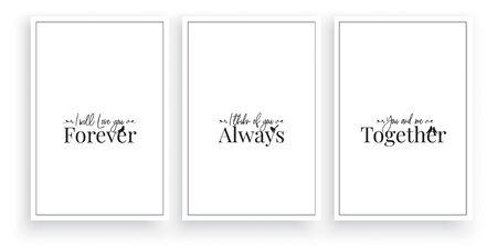 Minimalist three pieces poster design, vector. Forever, Always, Together. Wall Art Decor, wording design, lettering, minimalist poster design, wall decals, love quotes, greeting card design