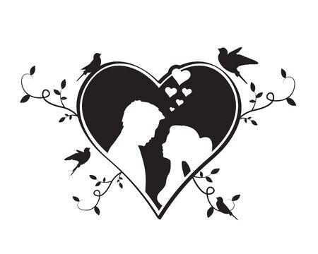 Siluetas de novios en corazón con aves voladoras siluetas y ramas ilustración, vector. Diseño de tarjetas de felicitación en blanco y negro. Diseño de invitación de boda. Calcomanías de pared, obras de arte de pared Ilustración de vector
