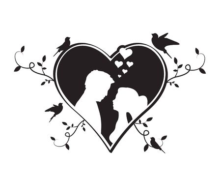 Bride and groom silhouettes in heart with flying birds silhouettes and branches illustration, vector. Black and white greeting card design. Wedding invitation design. Wall decals, wall art work