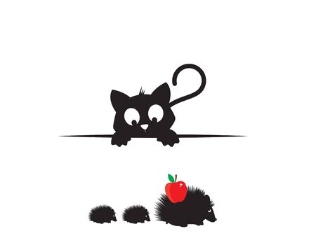 Cat behind table watching hedgehogs silhouettes, funny illustration, vector, cartoon, children wall decals, kids wall artwork isolated on white background, minimalist poster design Ilustração