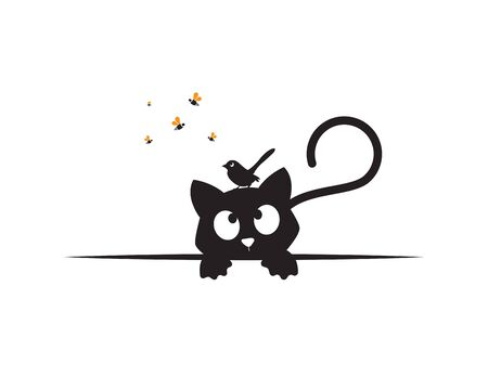 Cat behind table watching a bird silhouette on his head and bees, funny illustration, vector, cartoon, children wall decals, kids wall artwork isolated on white background, minimalist poster design