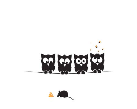 Four owls silhouettes on wire watching mice eating cheese. Funny illustration, vector, cartoon, children wall decals, kids wall artwork isolated on white background, minimalist poster design