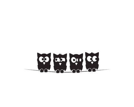 Four owls silhouettes on wire. Funny illustration, vector, cartoon, children wall decals, kids wall artwork isolated on white background, minimalist poster design Standard-Bild - 134722664