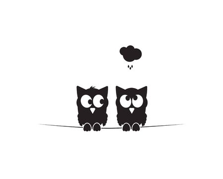 Two owls silhouettes on wire with cloud. Funny illustration, vector, cartoon, children wall decals, kids wall artwork isolated on white background, minimalist poster design Standard-Bild - 134722665